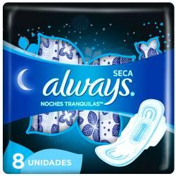Toallas Higiénicas Noches Tranquila Always x 8 un.