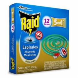 Insecticida Espiral Ahuyenta Mosquitos Raid x 12 un.