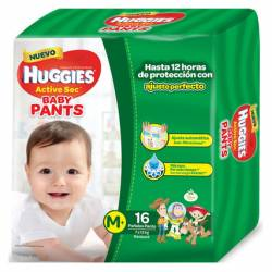 Pañal M Pants Active Sec Baby Huggies x 16 un.