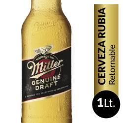 Cerveza Rubia Retornable Miller x 1 Lt.