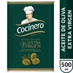 Aceite de Oliva Extra Virgen Lata Cocinero x 500 cc.