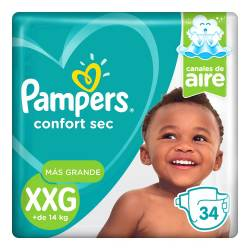 Pañal XXG Confort Sec Híper Pampers x 34 un.
