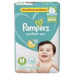 Pañal M Confort Sec Híper Pampers x 72 un.