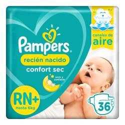 Pañal Rn+ Confort Sec Híper Pampers x 36 un.