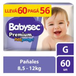 Pañal G Premium Flexi Protect Híper Babysec x 60 un.