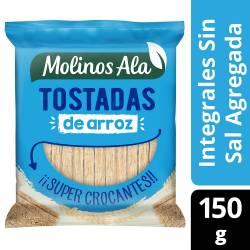 Tostadas Integrales de Arroz s/Sal Molinos Ala x 150 g.
