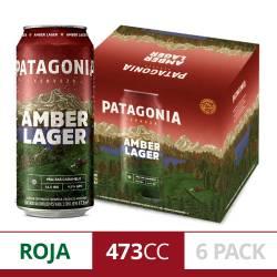 Cerveza Amber Lager Patagonia Pack x 6 Latas de 473 cc.