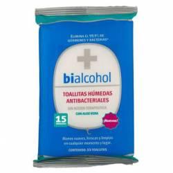 Toallitas Húmedas Antibacteriales c/Aloe Bialcohol x 15 un.