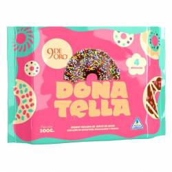 Donut Chocolate c/Granas Rellena de Dulce de Leche 9 de Oro x 4 un.