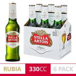 Cerveza Long Neck Stella Artois x 6 Latas de 330 cc.