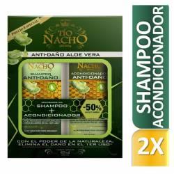 Shampoo + Acondicionador Anti-Daño Aloe Vera Oft Tío Nacho x 830 cc.