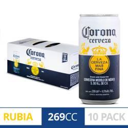 Cerveza Corona Pack x 10 Latas de 269 cc.