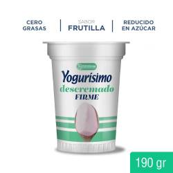 Yogur Descremado Firme Frutilla Yogurisimo x 190 g.