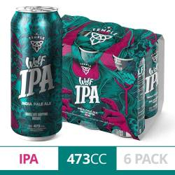 Cerveza Wolf Ipa Temple Pack x 6 Latas de 473 cc.