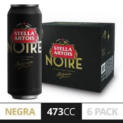 Cerveza Noire Stella Artois Pack x 6 Latas de 473 cc.