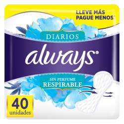 Protector Diario c/Perfume Always x 40 un.