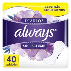 Protector Diarios s/Perfume Always x 40 un.