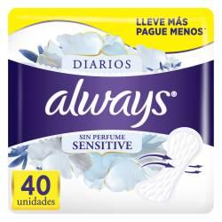 Protector Diarios s/Perfume Sensitive Always x 40 un.
