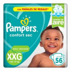Pañal XXG Confort Sec Híper Pampers x 56 un.