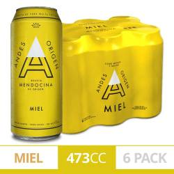 Cerveza Miel Andes Origen Pack x 6 Latas de 473 cc.