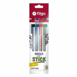 Bolígrafo Stick 026 Surtido Filgo x 4 un.