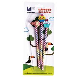 Lápices con Goma Fantasía La Anónima x 3 un.