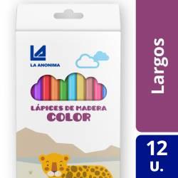 Lápices de Colores Largos La Anónima x 12 un.