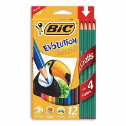 Lápices Color Bic Evolution Largos x 12 un. + 4 Grafitos Bic.
