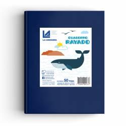 Cuaderno Tapa Dura Rayado Azul 50 Hojas La Anónima x 1 un.