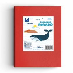 Cuaderno Tapa Dura Rayado Rojo 50 Hojas La Anónima x 1 un.
