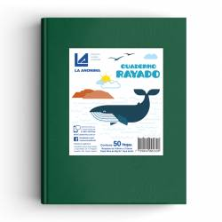 Cuaderno Tapa Dura Rayado Verde 50 Hojas La Anónima x 1 un.