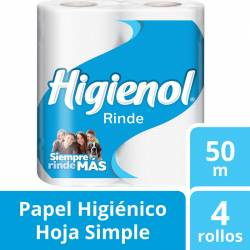 Papel Higiénico 50 mts. Higienol x 4 un.