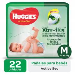 Pañal M Active Sec Mega Huggies x 22 un.