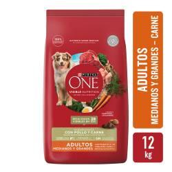 Alimento para Perro Adulto Raza M/G Carne Purina One x 12 Kg.