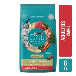 Alimento para Gato Adulto Carne Purina One x 6 Kg.