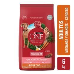 Alimento para Perro Adulto Raza M/G Cordero Purina One x 6 Kg.