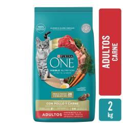 Alimento para Gato Adulto Carne Purina One x 2 Kg.