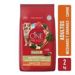 Alimento para Perro Adulto Raza M/G Carne Purina One x 2 Kg.