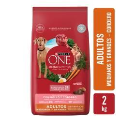 Alimento para Perro Adulto Raza M/G Cordero Purina One x 2 Kg.