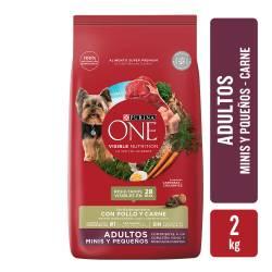 Alimento para Perro Adulto Raza Pequeña Carne Purina One x 2 Kg.