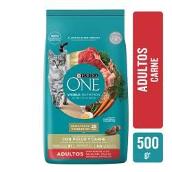 Alimento para Gato Adulto Carne Purina One x 500 g.