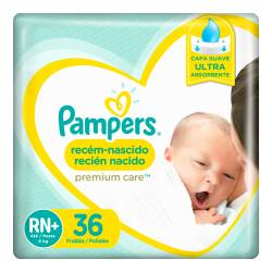Pañal RN+ Premium Care Híper Pampers x 36 un.