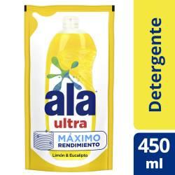 Detergente Liquido Ultra Limón & Eucalipto Doy pack Ala x 450 cc.